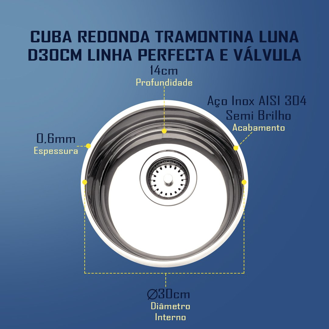 Medidas Cuba Tramontina Redonda Luna D30