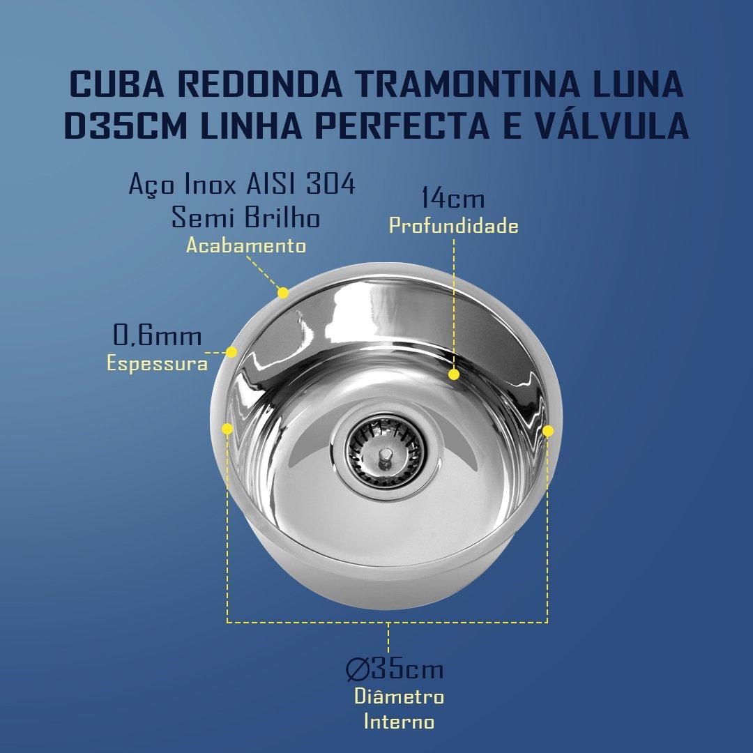 Medidas Cuba Tramontina Redonda Luna D35