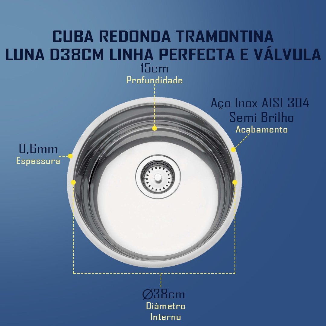 Medidas Cuba Tramontina Redonda Luna D38 Perfecta