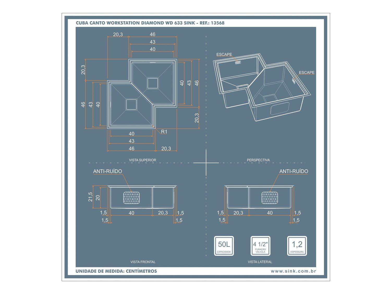 Medidas e Desenho Técnico da Cuba Workstation Diamond WD 633