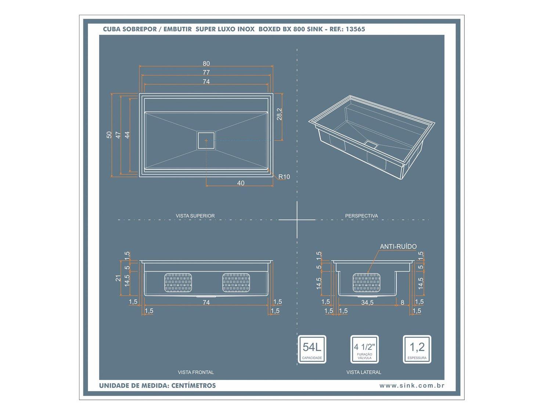 Cuba Inox Sink Workstation WK 800 ( 77x47x21,5cm )