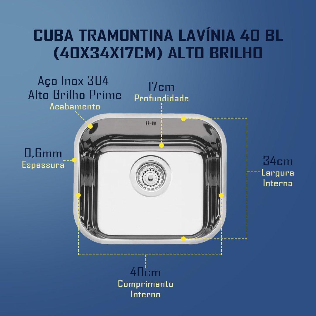 Medidas Cuba Tramontina 40 BL