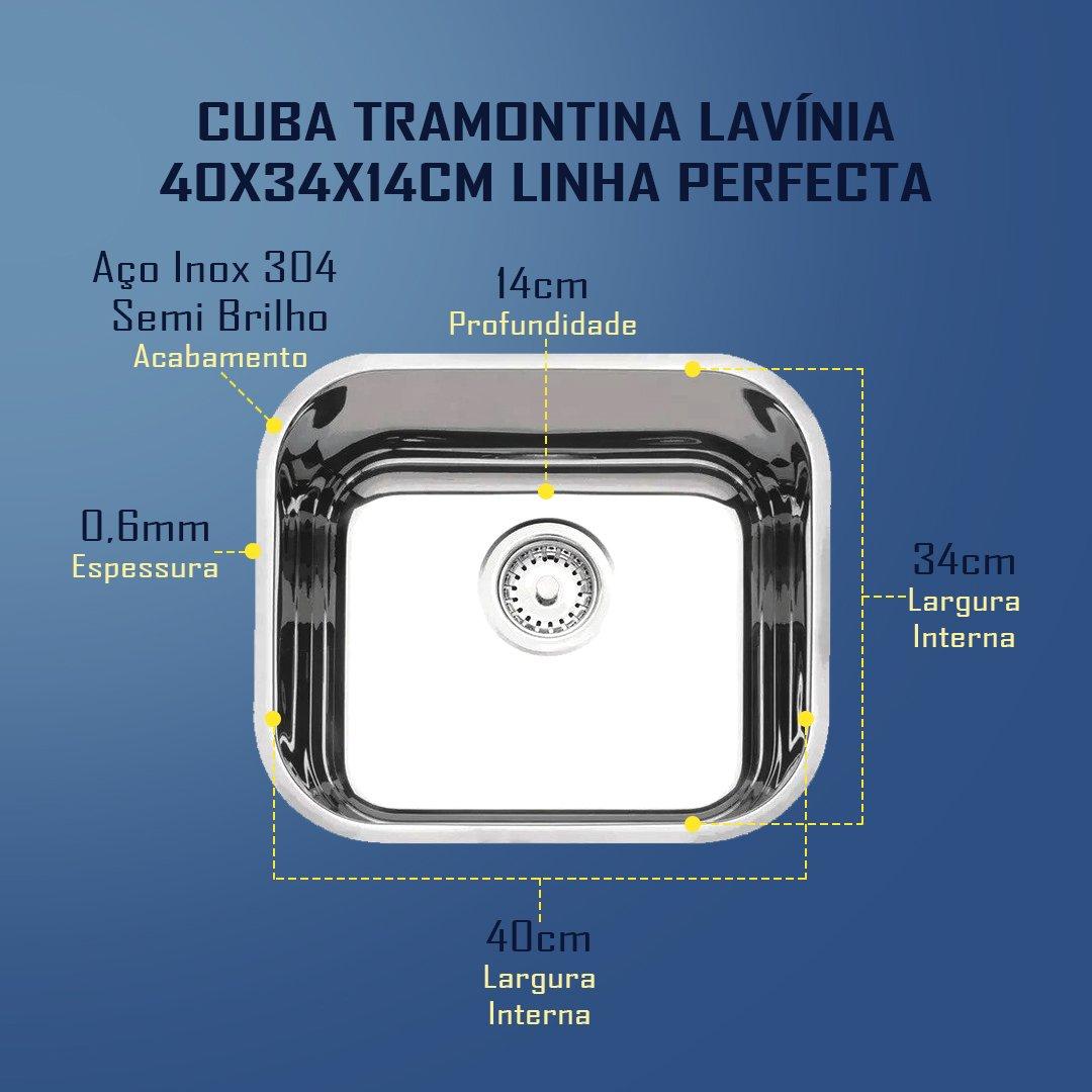 Medidas Cuba Tramontina Lavínia 40 Perfecta