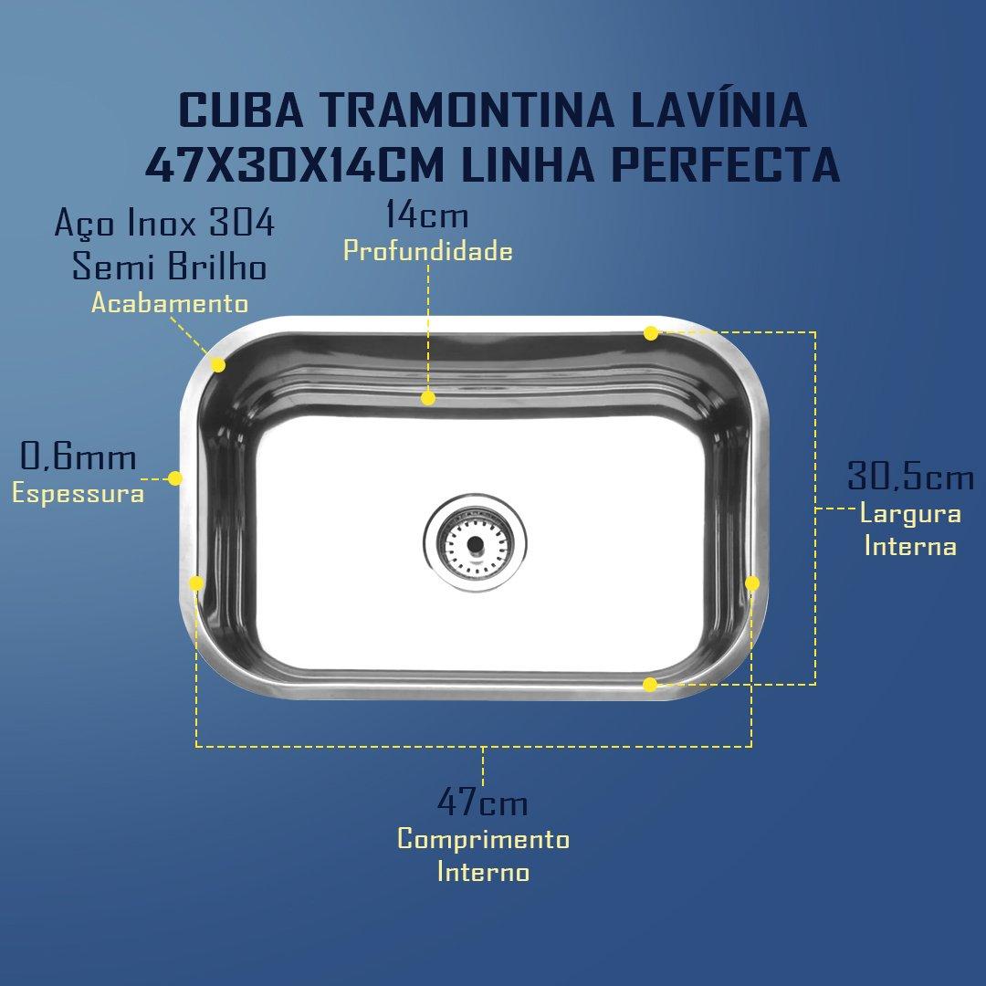 Medidas Cuba Tramontina Lavínia 47 Perfecta