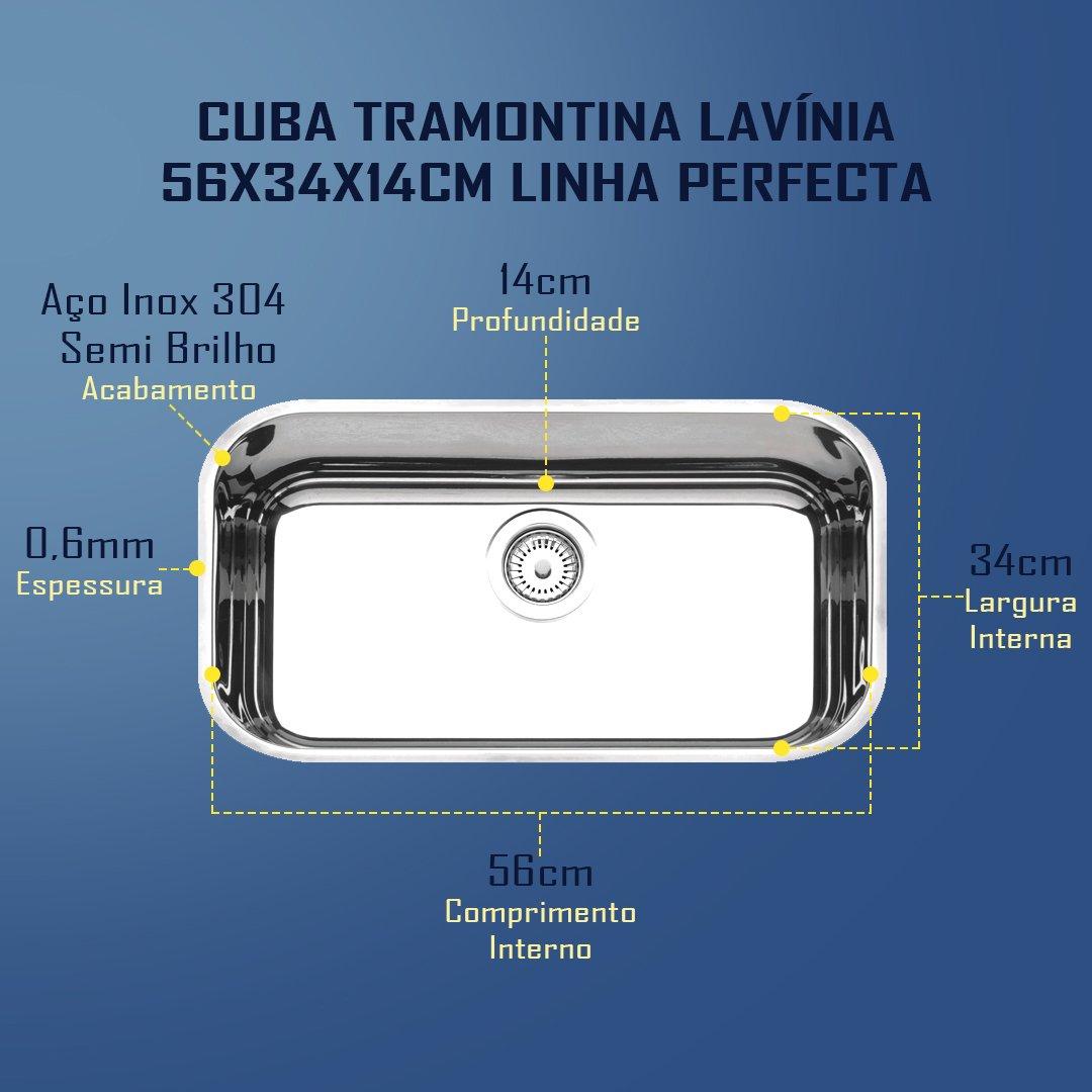 Medidas Cuba Tramontina Lavínia 56 Perfecta