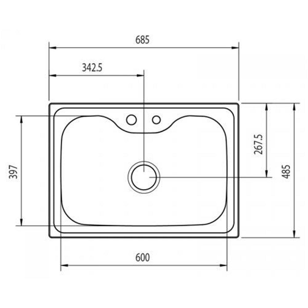 Medidas e Desenho técnico com as medidas da Cuba Tramontina Morgana 60FX
