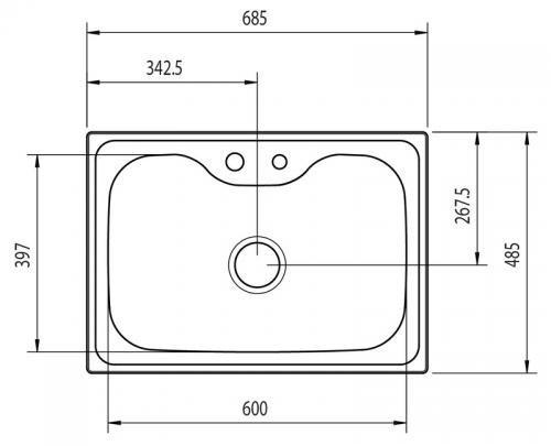 Medidas e Desenho Técnico da Cuba Tramontina Morgana 60 FX