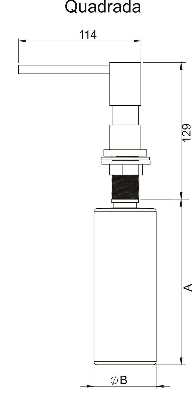 Medidas e Desenho Técnico do Dosador 350ML Debacco Black Matte