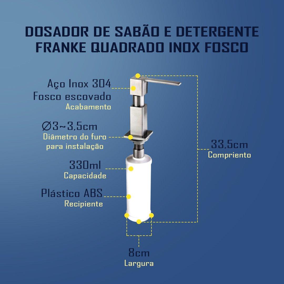 Medidas do Dosador Quadrado Franke