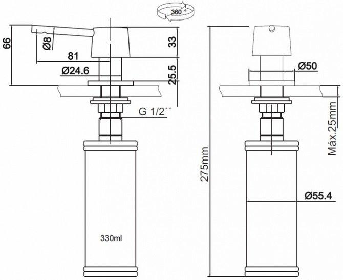Medidas e Desenho Técnico do Dosador Franke Redondo 330ml Fosco
