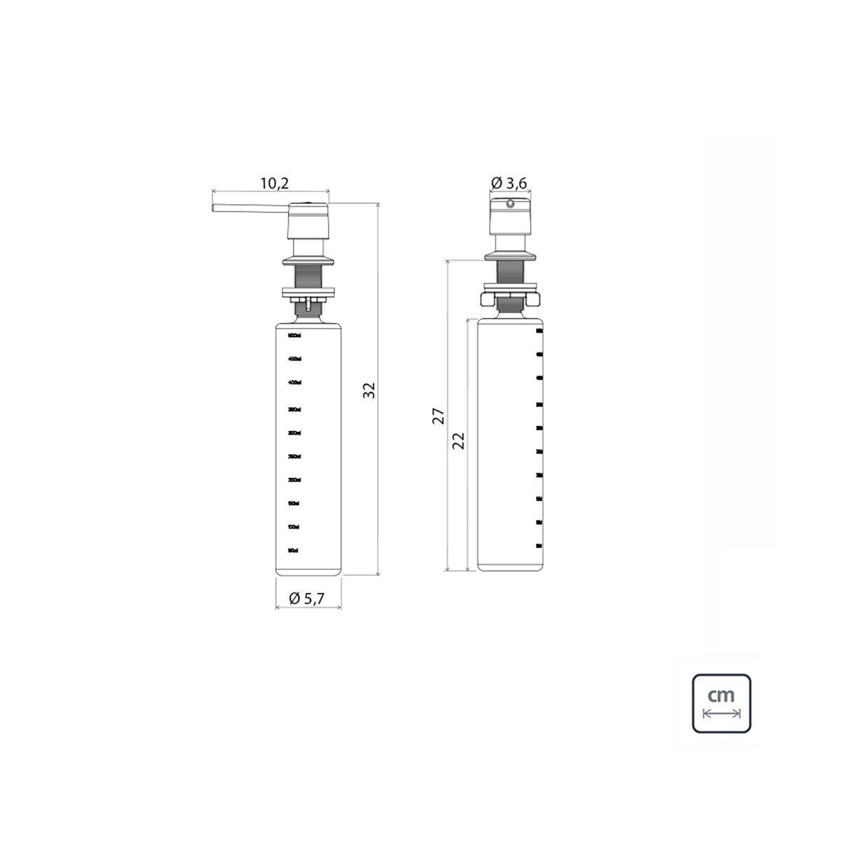 Medidas e Desenho Técnico do Dosador Tramontina