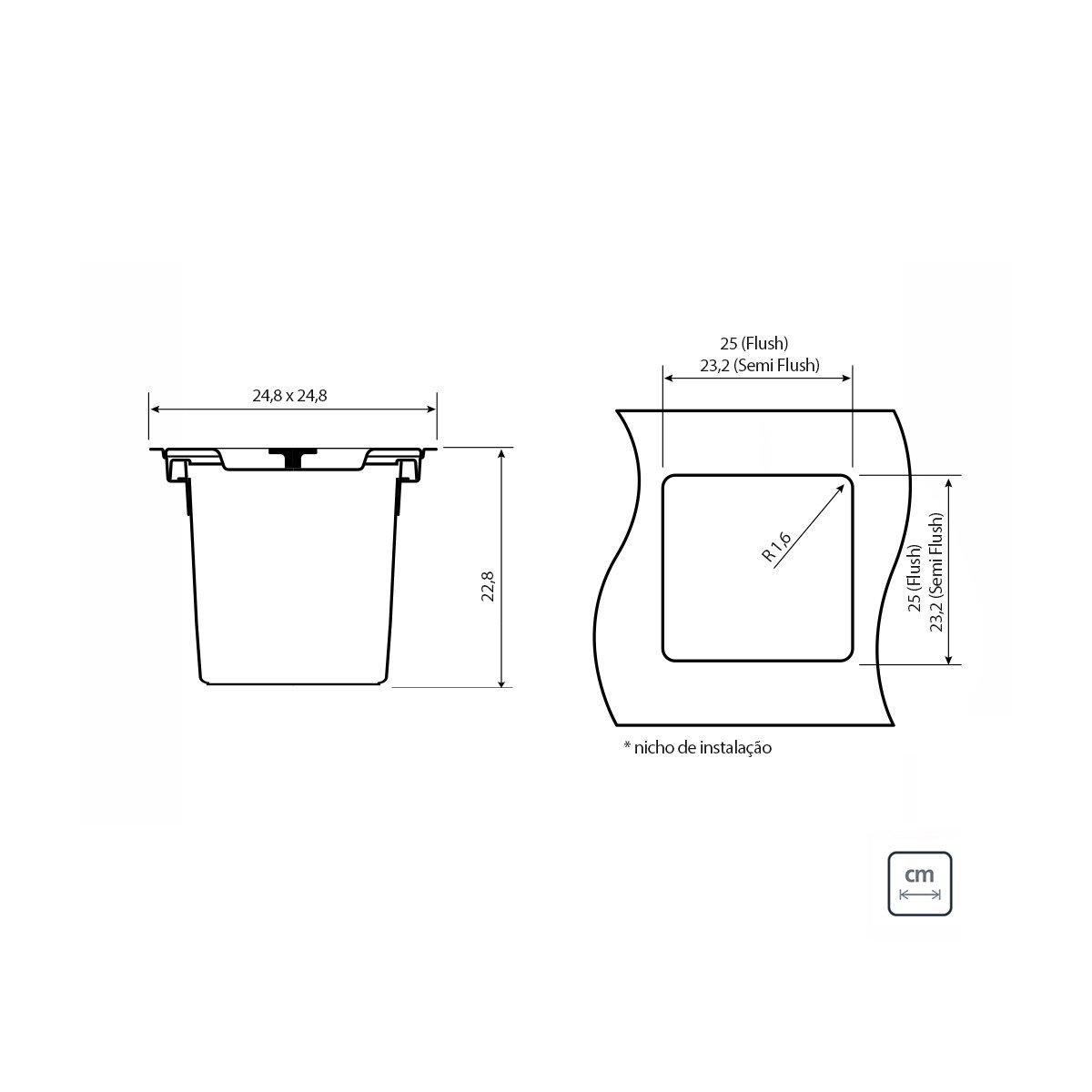 Lixeira Quadrada Tramontina 5 litros Clean Square de Embutir