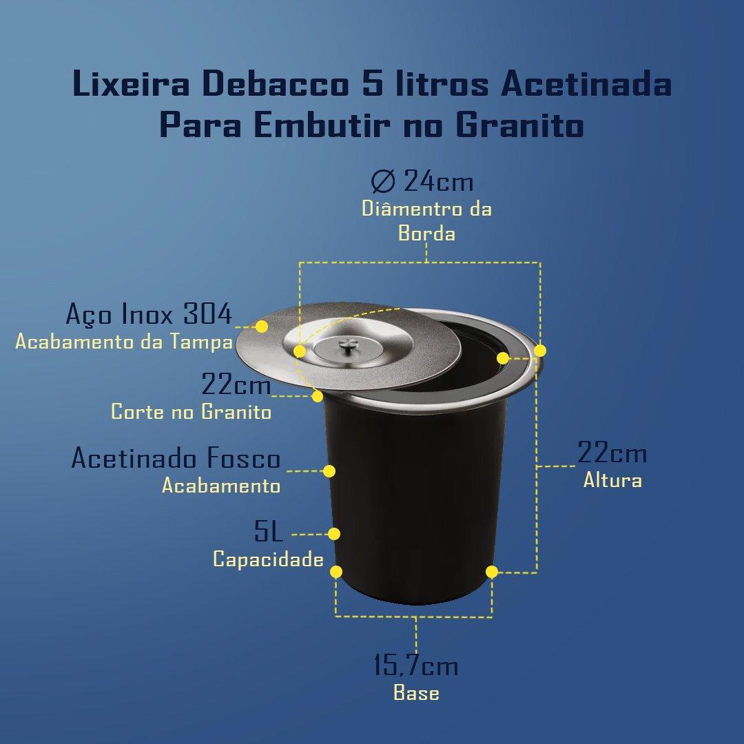 Medidas Lixeira Debacco 5 Litros de Embutir