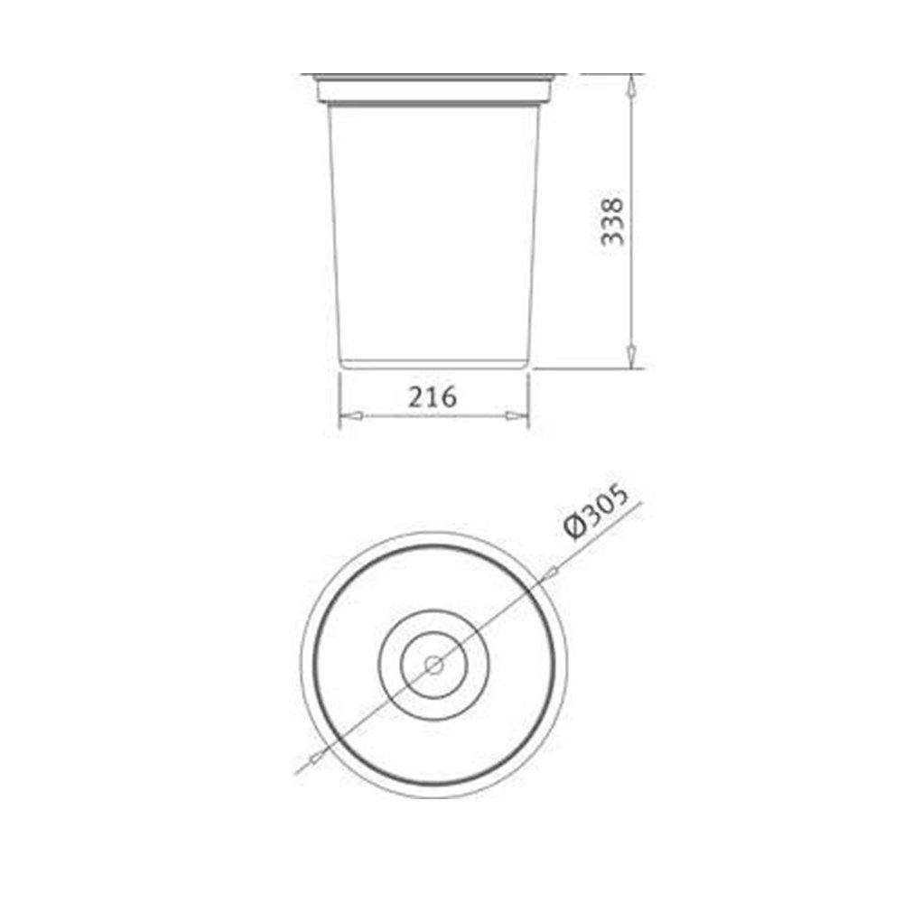 Medidas e Desenho Técnico da Lixeira Franke Redonda 12 Litros