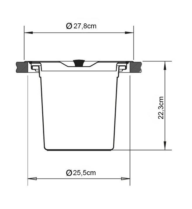Medidas e Desenho Técnico da Lixeira Inox de Embutir Pratice 6,5