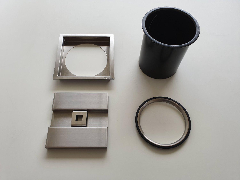 Lixeira Inox Quadrada 5 litros Xteel Para Embutir no Granito