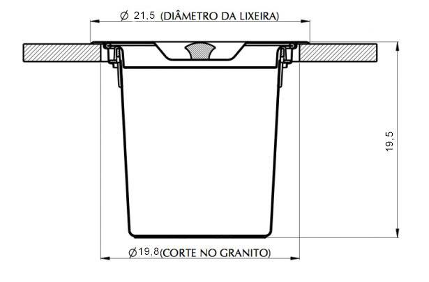 Medidas e Desenho Técnico da Lixeira Inox Pratice 3,5 Litros
