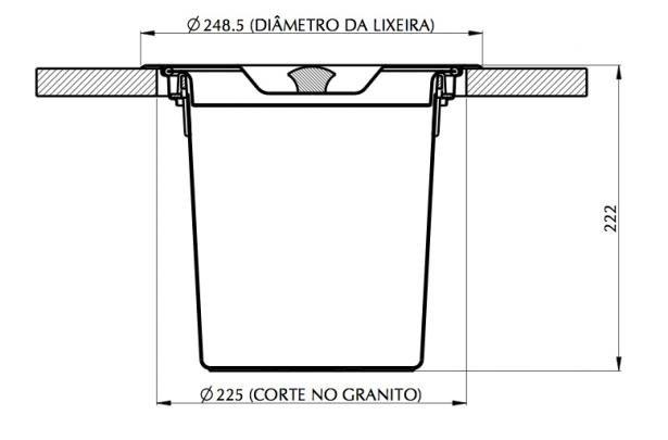 Lixeira Tramontina De Embutir Clean 5 Litros Para Granito