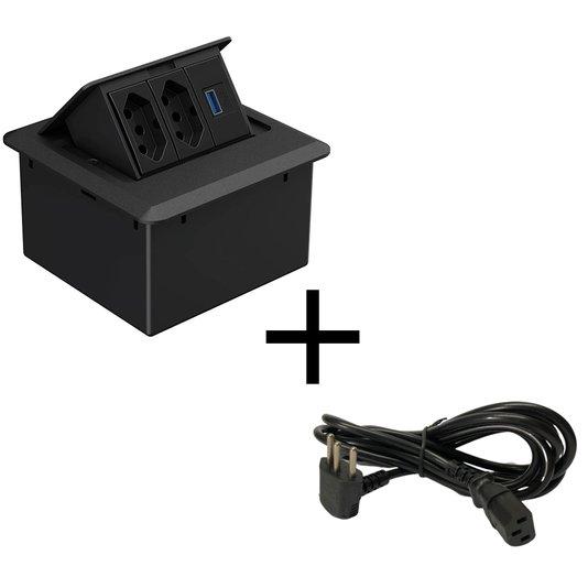 Caixa de Tomadas USB Preta Para Embutir 2 Tomadas 10A + Cabo