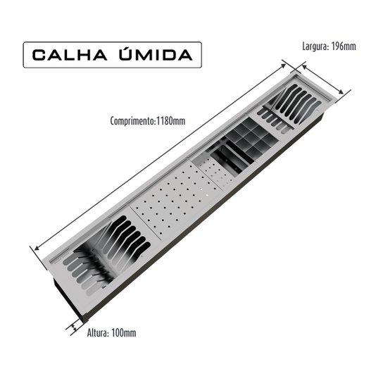 Calha Úmida Inox 118cm Completa com Acessórios 5 Módulos