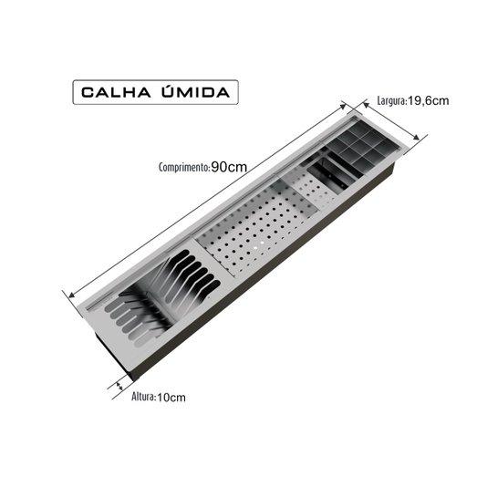 Calha Úmida Inox 90cm Completa com Acessórios 4 Módulos