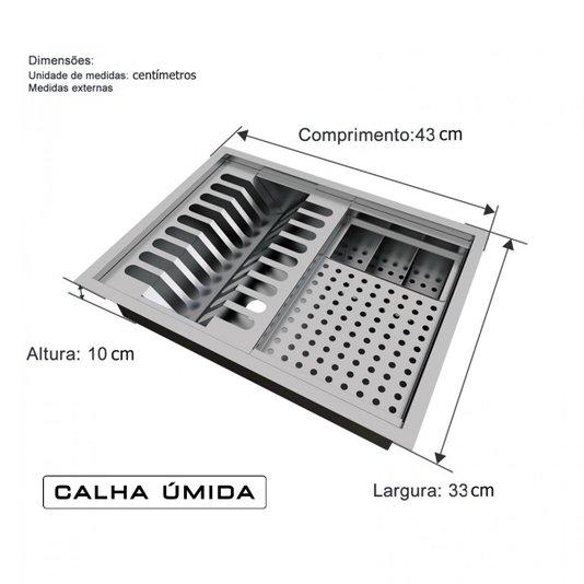 Calha Úmida Inox Lateral Completa Quadratta Pratic 40x30cm