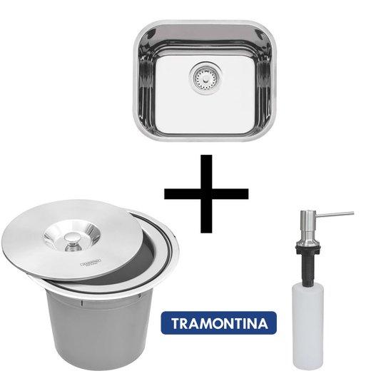 Combo Tramontina Cuba 40x34x14cm+Dosador 500ml+Lixeira 5Lits