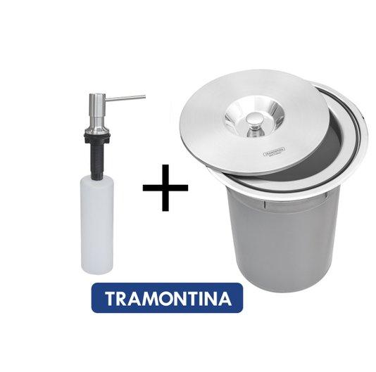 Combo Tramontina Dosador 500ml e Lixeira 5Litros Clean Round