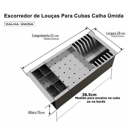 Escorredor de Louças Inox Móvel Para Cubas Marca Calha Úmida
