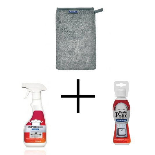 Combo Kit de Limpeza Tramontina Para Remover Manchas no Inox