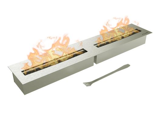 Queimador Ecológico Inox Duplo 60cm Para Lareira (60cmx16cm)