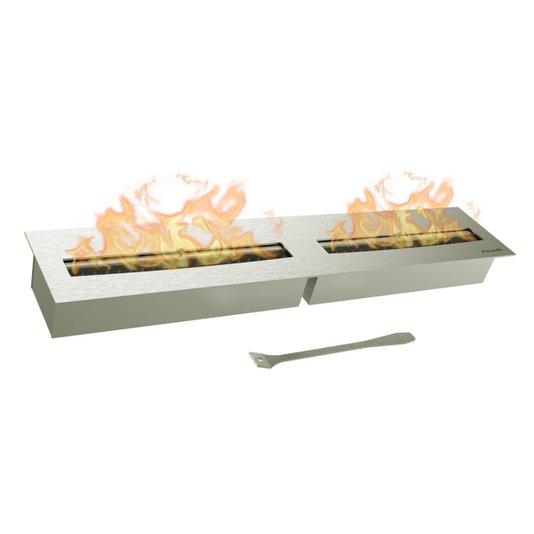 Queimador Ecológico Inox Duplo 80cm Para Lareira (80cmx16cm)