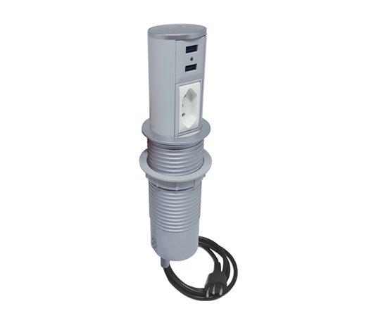 Torre de Tomadas USB Cinza Automática Multiplug Mini Totem