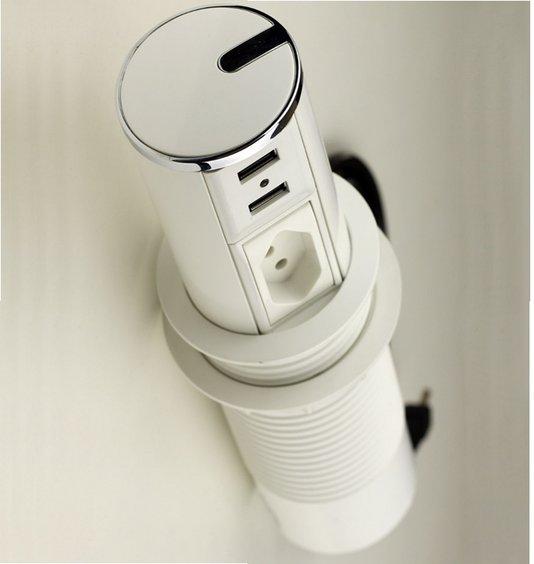 Torre de Tomadas Cromada Com Branco Automática Mini Totem