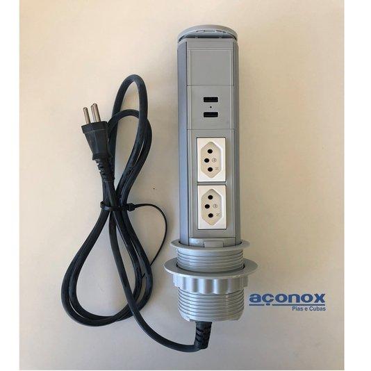 Torre de Tomadas USB Cinza Manual Multiplug Pratik 10A