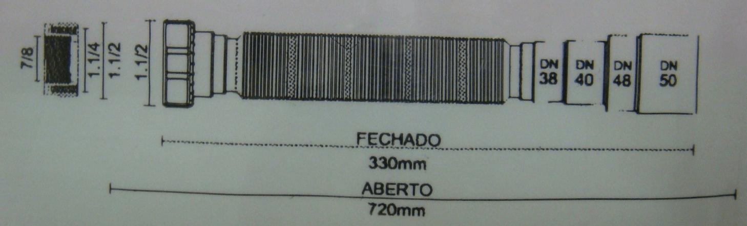 Medidas e Desenho Técnico do Sifão Flexível Franke
