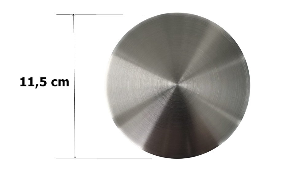 "Tampa Decorativa Inox Fosco Para Ralo de Pia 4.1/2"" - 11,5cm"