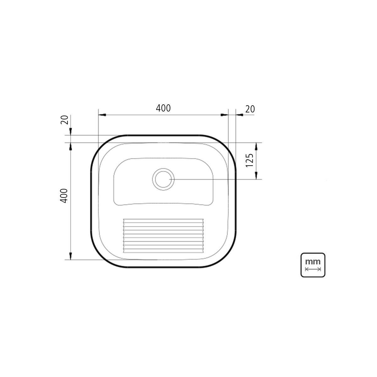 Medidas e Desenho Técnico do Tanque De Encaixe Tramontina Acetinado 23Litros