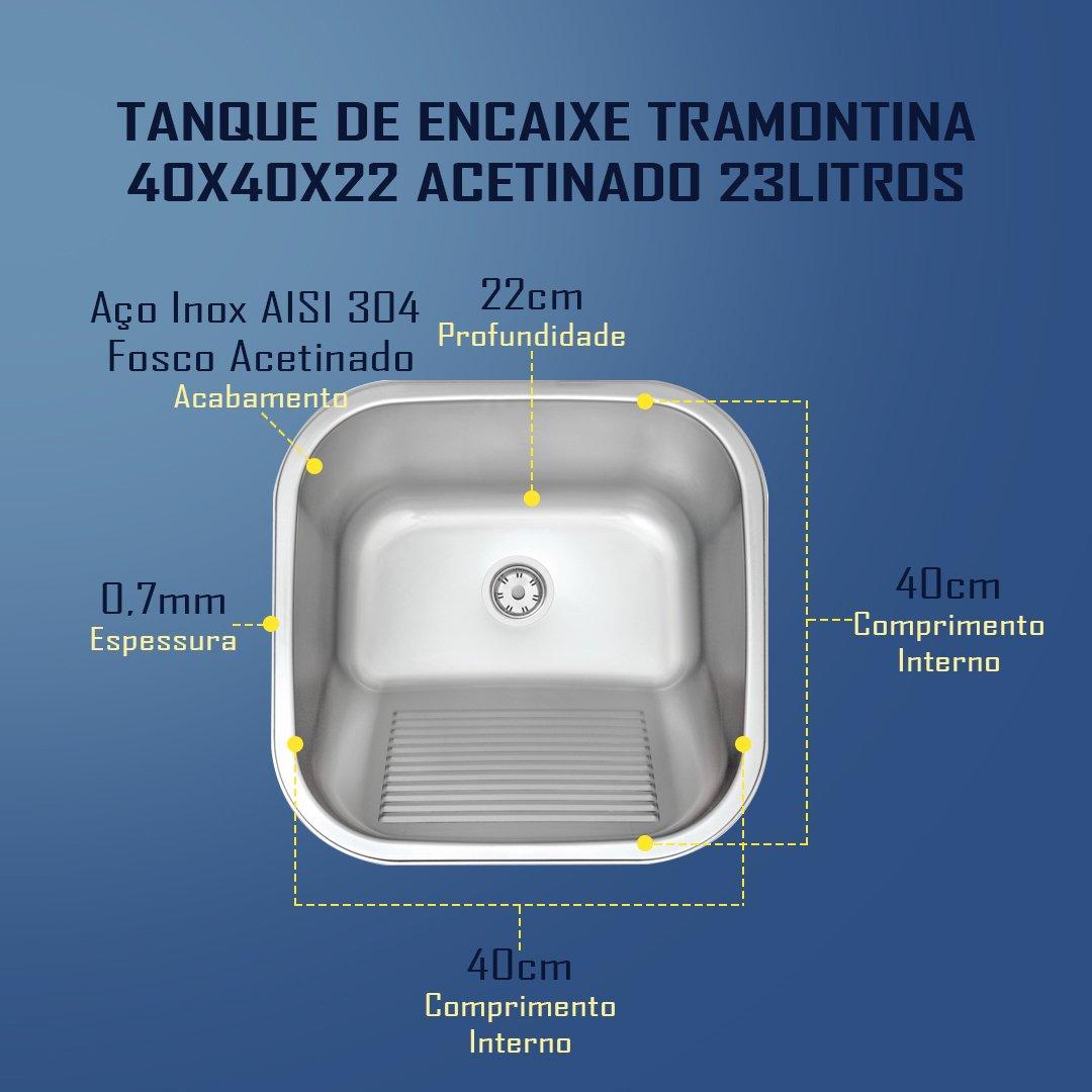 Medidas Tanque Tramontina 40x40x22cm Acetinado