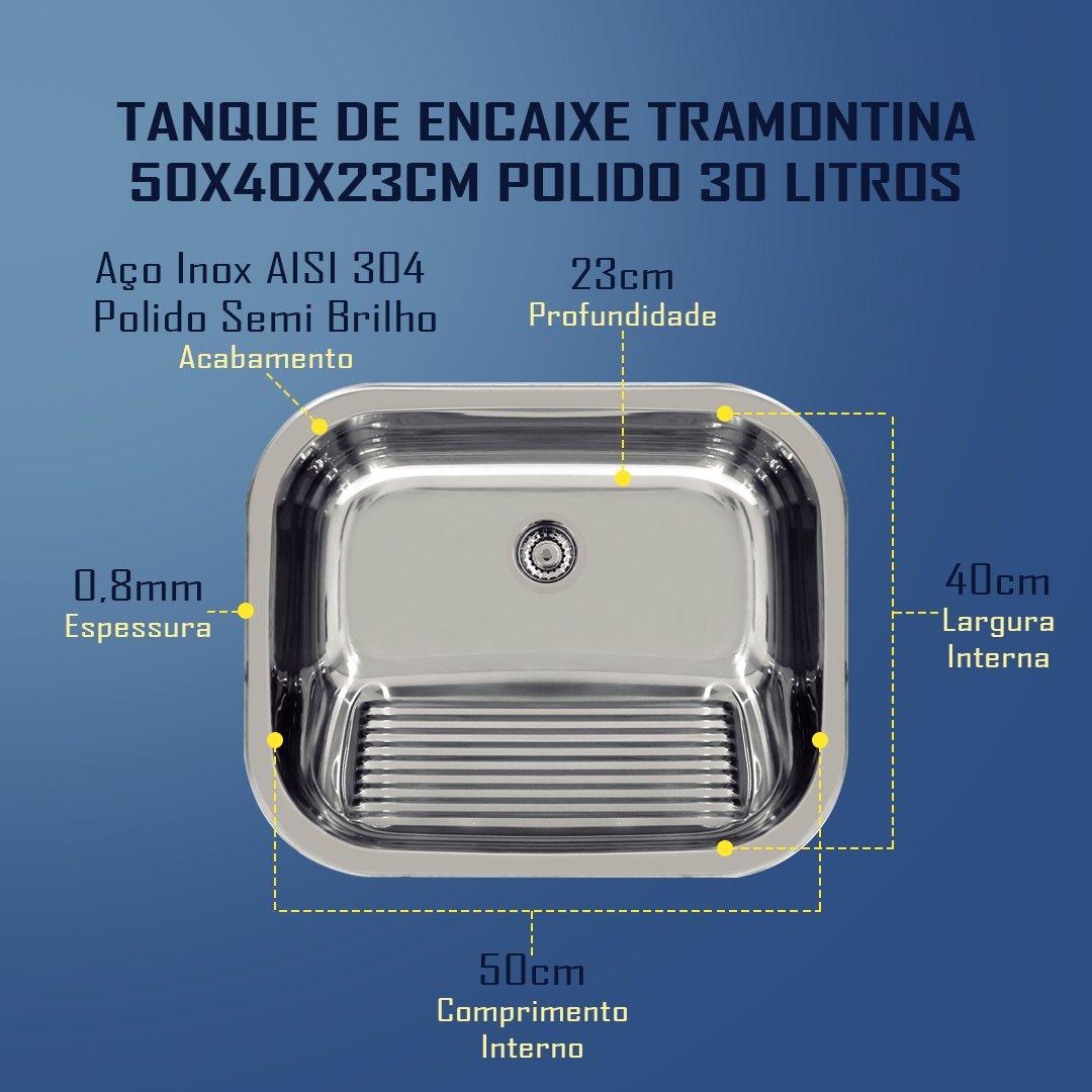 Medidas Tanque Tramontina 50x40x23cm Polido