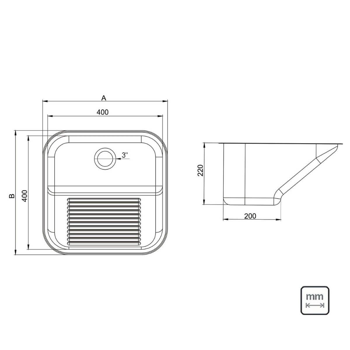 Tanque Inox Debacco-Ghelplus 40x40x22cm Acetinado 25 litros