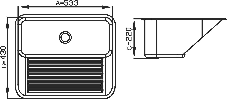Tanque Inox Debacco-Ghelplus 50x40x22cm Acetinado 30 litros
