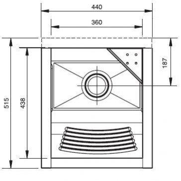 Medidas e Desenho Técnico do Tanque Inox Franke TS-360 Sem Espelho