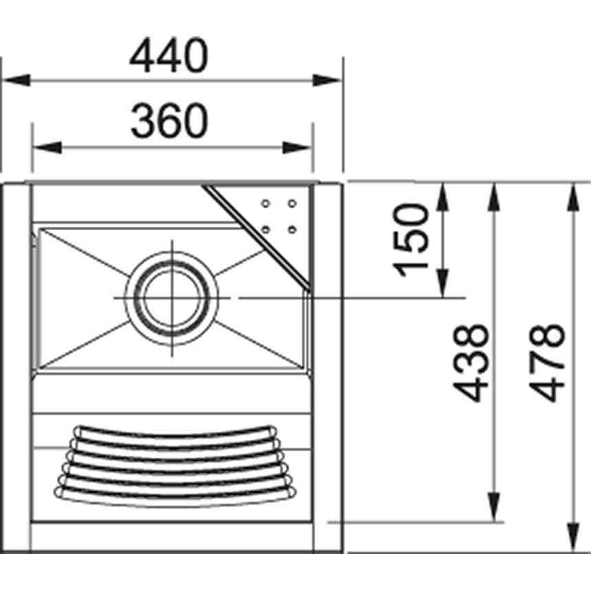 Medidas e Desenho Técnico do Tanque Inox Franke TS-360 Com Espelho