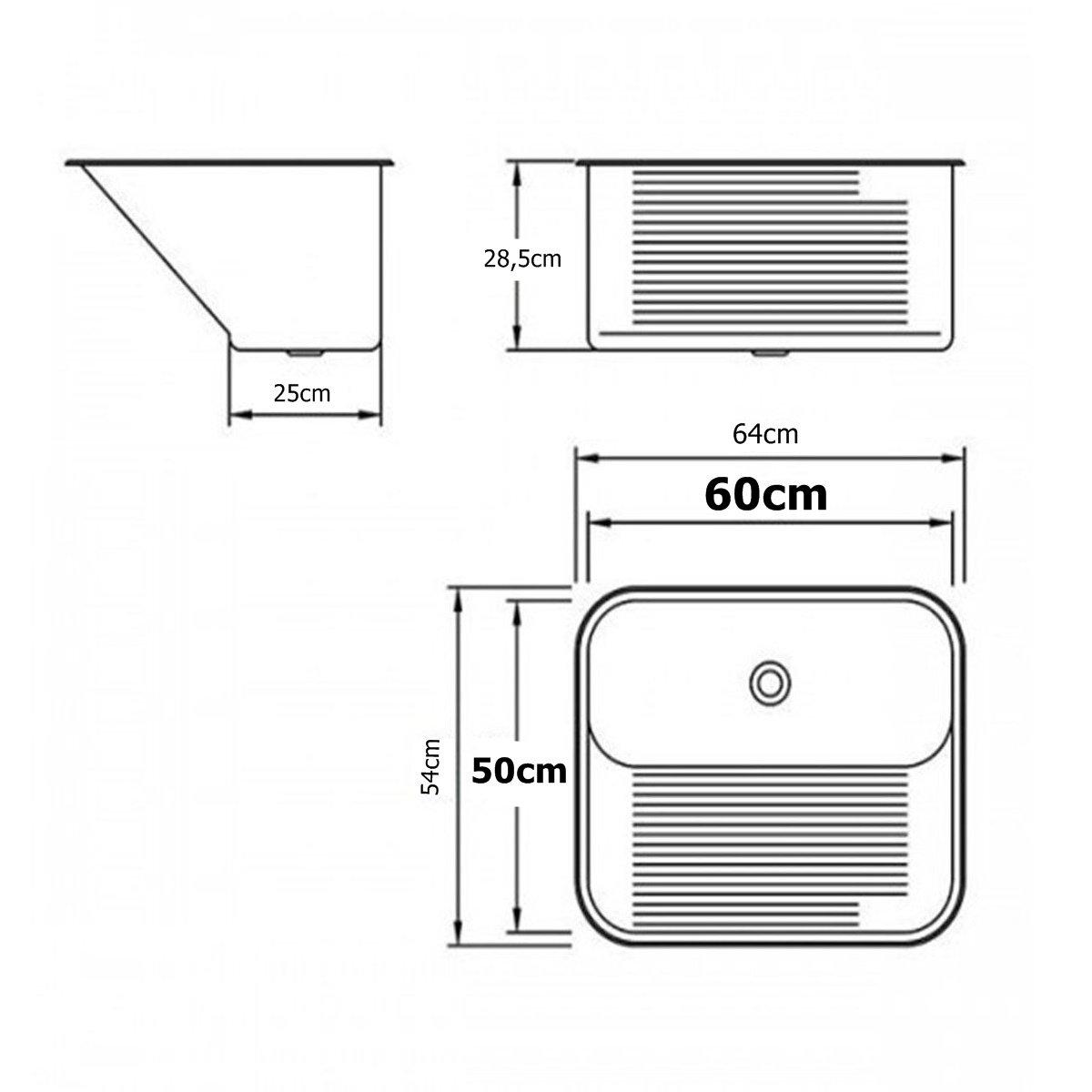 Tanque Inox Mekal 60x50x28cm CT60 Capacidade 60 litros