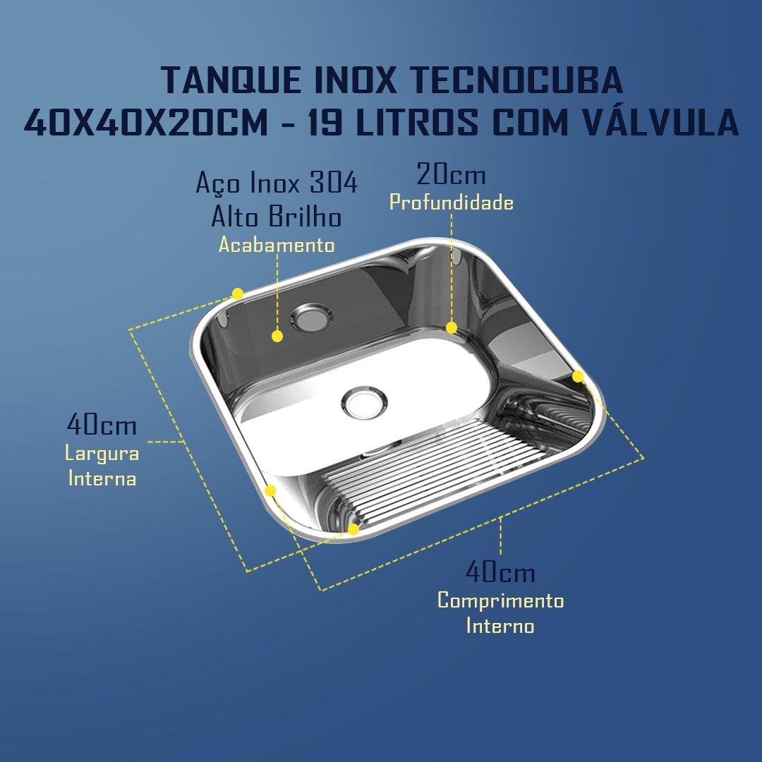 Medidas Tanque Inox Tecnocuba 40x40x20cm