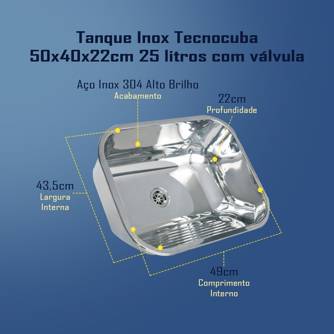Medidas Tanque Inox Tecnocuba 50x40