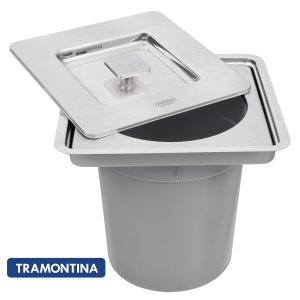 Lixeira Quadrada De Embutir Tramontina 5 litros Clean Square