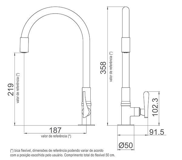 Medidas e Desenho Técnico da Torneira Lorenzetti Multiuso de Mesa com Bica Flexível