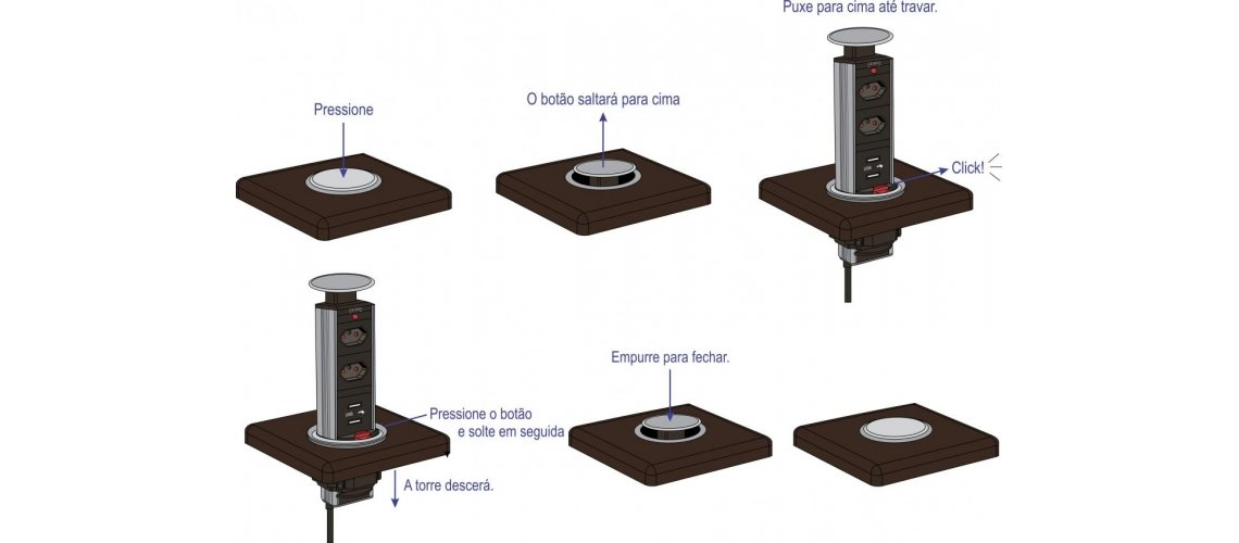 Instruções de uso da Torre De Tomadas